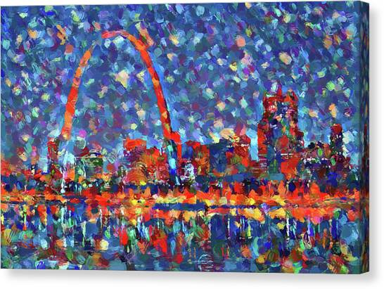 Gateway Arch Canvas Print - Colorful St Louis Skyline by Dan Sproul
