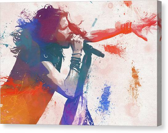 Steven Tyler Canvas Print - Colorful Steven Tyler Paint Splatter by Dan Sproul