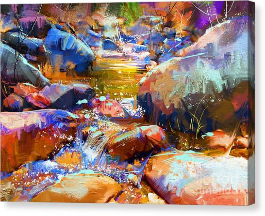 Canvas Print featuring the painting Colorful Stones by Tithi Luadthong