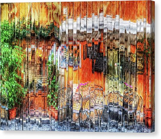 Colorful Street Cafe Canvas Print