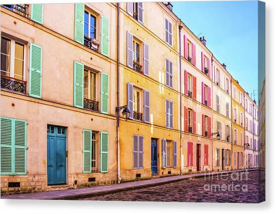 Parisian Canvas Print - Colorful Street In Paris by Delphimages Photo Creations
