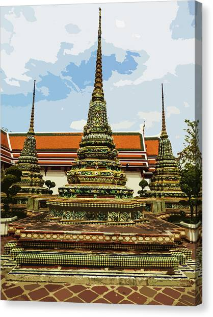Colorful Stupas At Wat Pho Canvas Print