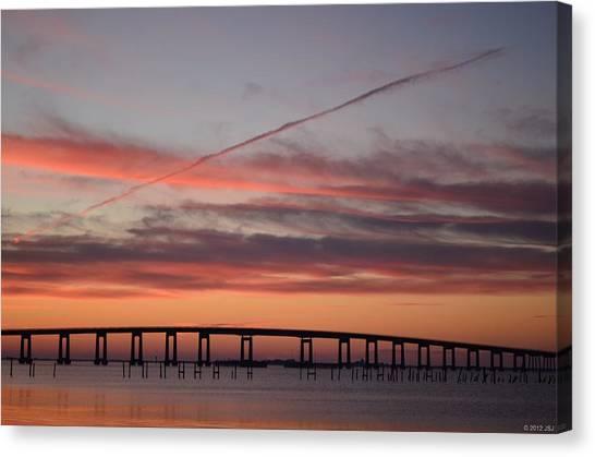 Colorful Sunrise Over Navarre Beach Bridge Canvas Print