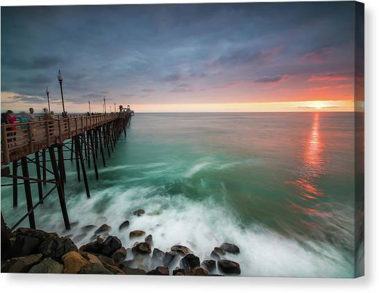 Pier Canvas Print - Colorful Sunset At The Oceanside Pier by Larry Marshall
