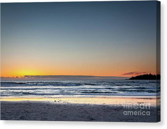 Colorful Sunset Over A Desserted Beach Canvas Print