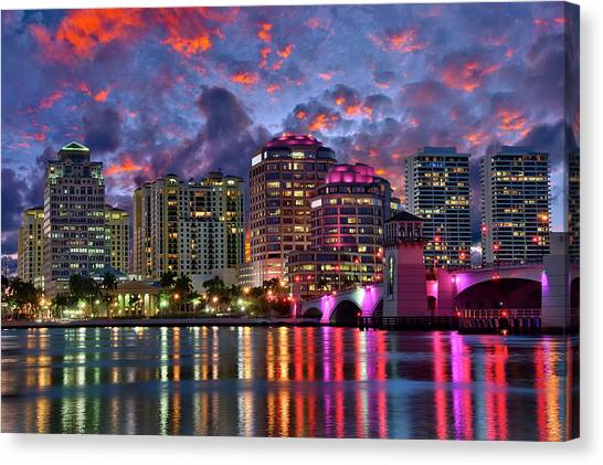 Colorful Sunset Over Downtown West Palm Beach Florida Canvas Print