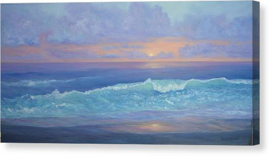 Cape Cod Colorful Sunset Seascape Beach Painting With Wave Canvas Print