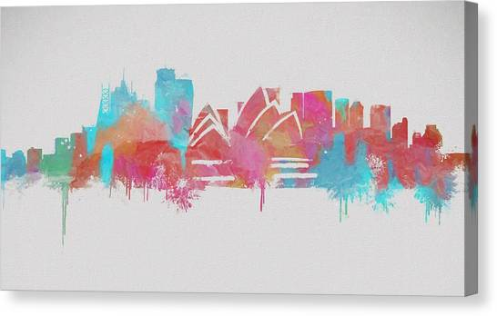 Sydney Skyline Canvas Print - Colorful Sydney Skyline Silhouette by Dan Sproul
