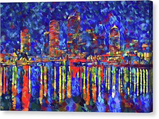 Tampa Bay Lightning Canvas Print - Colorful Tampa Bay Skyline by Dan Sproul