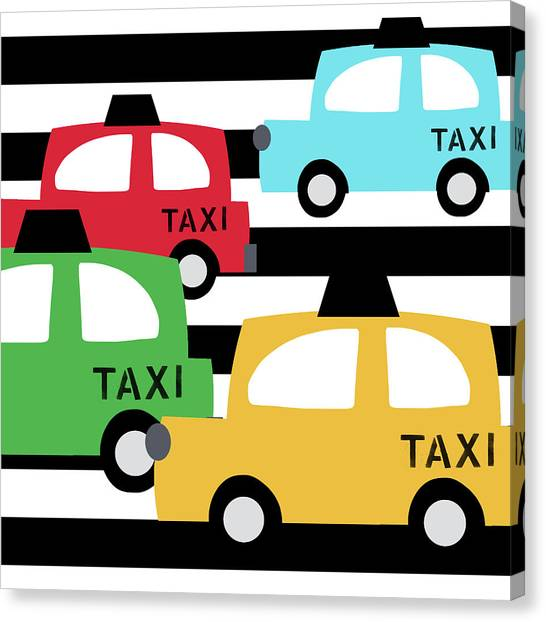 Driving Canvas Print -  Colorful Taxis- Art By Linda Woods by Linda Woods