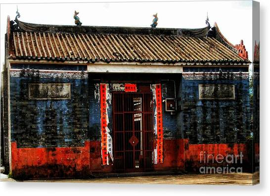 Colorful Times Temple Hall Canvas Print by Kathy Daxon