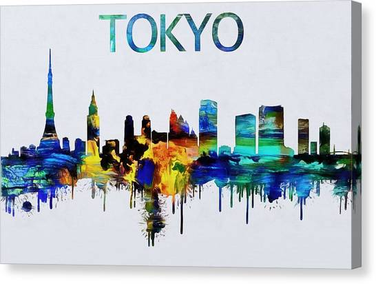 Tokyo Skyline Canvas Print - Colorful Tokyo Skyline Silhouette by Dan Sproul