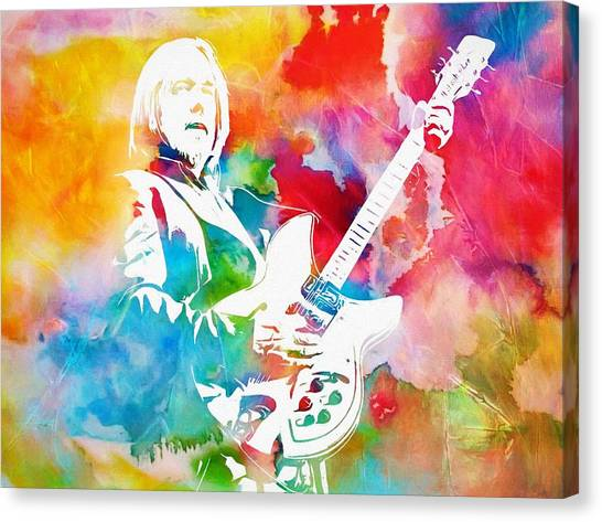 Tom Petty Canvas Print - Colorful Tom Petty by Dan Sproul