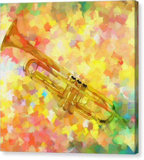 Music Genres Canvas Print - Colorful Trumpet  by Dan Sproul