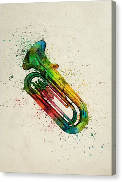 Brass Instruments Canvas Print - Colorful Tuba 01 by Aged Pixel