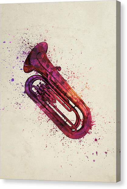 Brass Instruments Canvas Print - Colorful Tuba 03 by Aged Pixel
