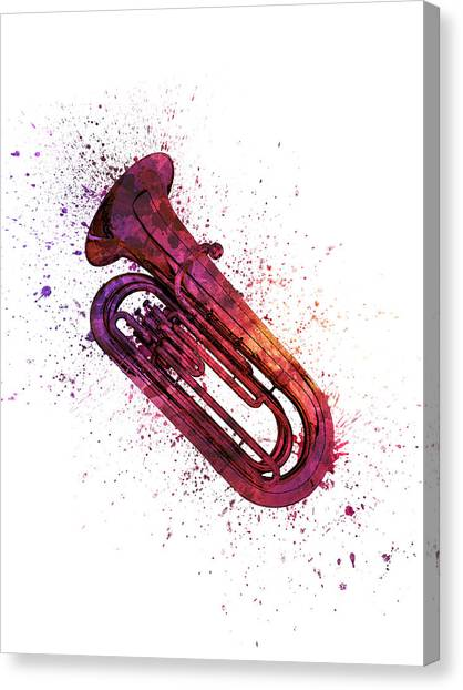 Brass Instruments Canvas Print - Colorful Tuba 04 by Aged Pixel