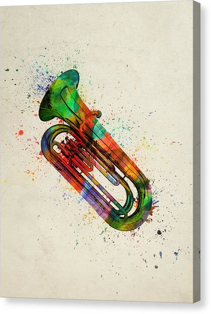 Brass Instruments Canvas Print - Colorful Tuba 05 by Aged Pixel