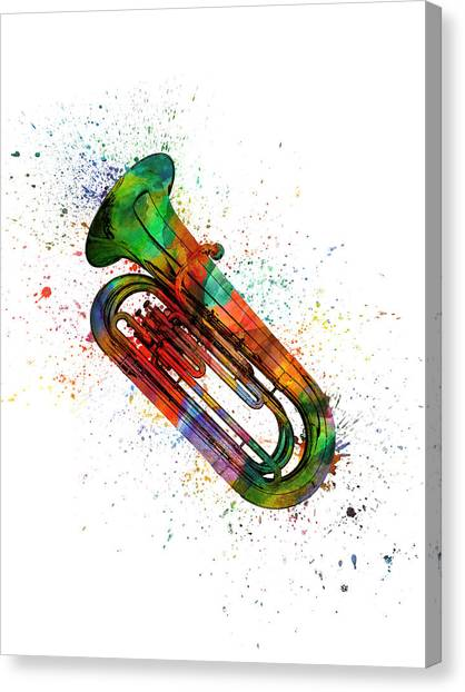 Brass Instruments Canvas Print - Colorful Tuba 06 by Aged Pixel