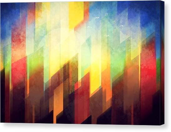 City Sunsets Canvas Print - Colorful Urban Design by Thubakabra
