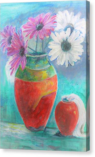 Colorful Vases And Flowers Canvas Print
