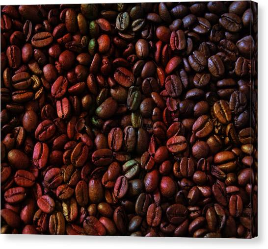Coffee Beans Canvas Print - Colorful Vibrant Coffee Beans by Design Turnpike