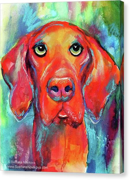 Watercolor Canvas Print - Colorful Vista Dog Watercolor And Mixed by Svetlana Novikova