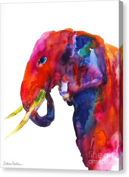 Canvas Print - Colorful Watercolor Elephant by Svetlana Novikova