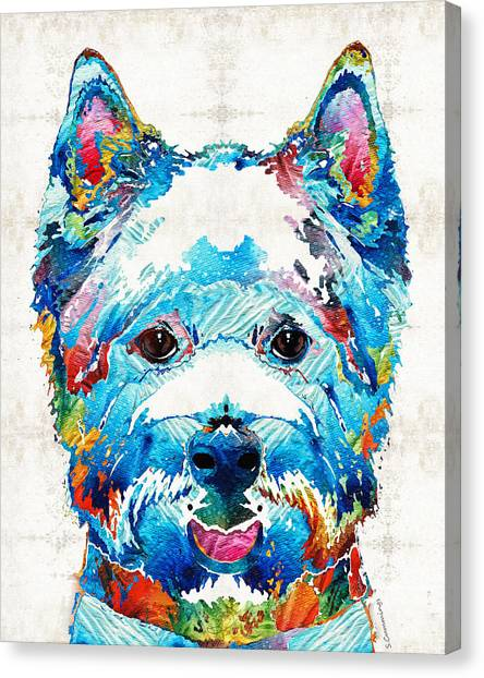 Westie Canvas Print - Colorful West Highland Terrier Dog Art Sharon Cummings by Sharon Cummings