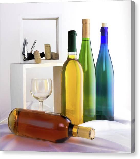 Amber Canvas Print - Colorful Wine Bottles by Tom Mc Nemar