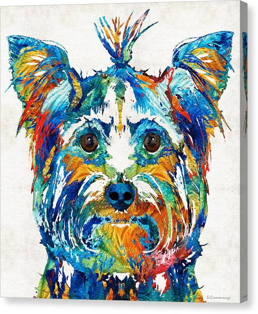Yorkie Canvas Print - Colorful Yorkie Dog Art - Yorkshire Terrier - By Sharon Cummings by Sharon Cummings