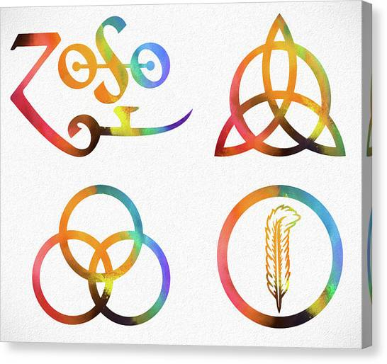 Robert Plant Canvas Print - Colorful Zoso Symbols by Dan Sproul