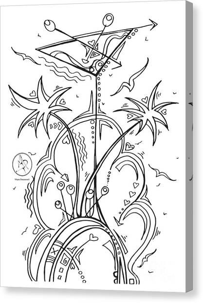 Tropical Beach Canvas Print - Coloring Page With Beautiful Tropical Martini Drawing By Megan Duncanson by Megan Duncanson