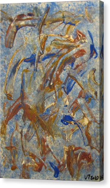 Colors Dance On Blue Canvas Print by Veronica Trotter
