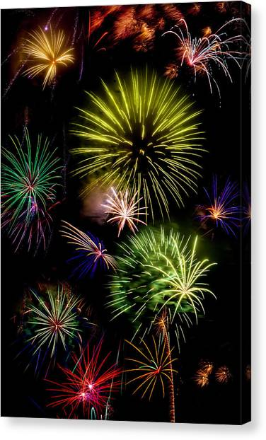 Pyrotechnic Canvas Print - Colors Exploding Over Heard by Garry Gay