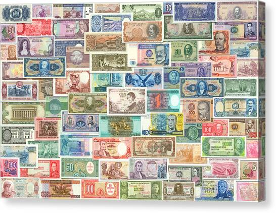 Venezuelan Canvas Print - Colors Of Currency by Stephen Younts