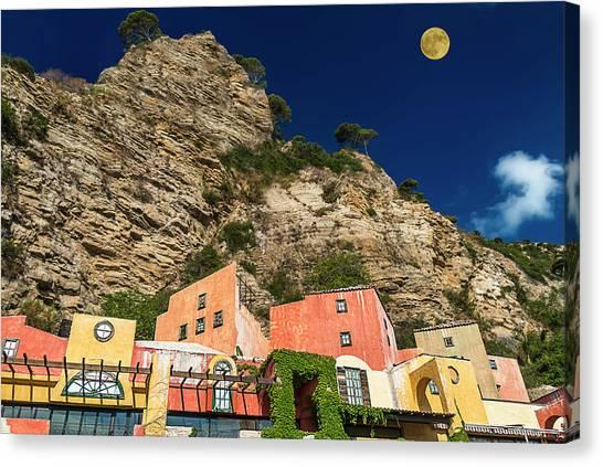Canvas Print featuring the photograph Colors Of Liguria Houses - Facciate Case Colori Di Liguria 4 by Enrico Pelos