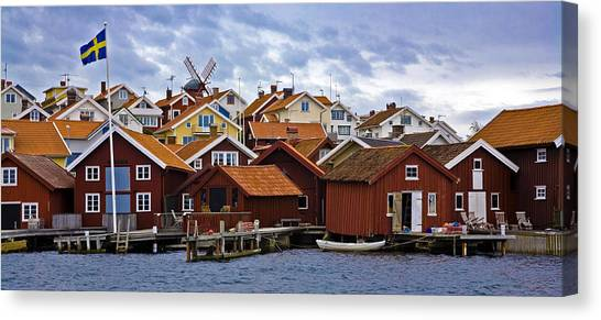 Old Houses Canvas Print - Colors Of Sweden by Frank Tschakert
