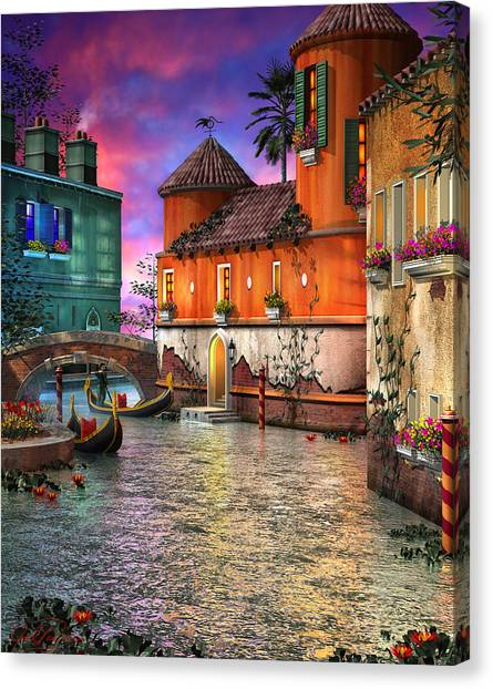 River Canvas Print - Colors Of Venice by Joel Payne