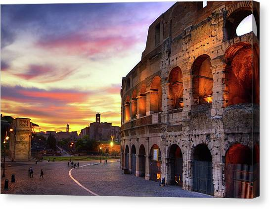 Ancient Rome Canvas Print - Colosseum At Sunset by Christopher Chan