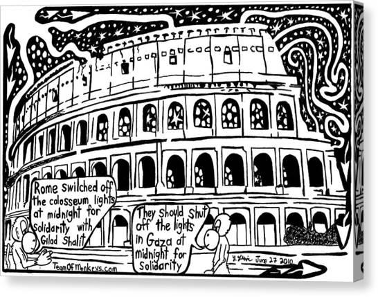 Colosseum Blackout For Gilad Shalit Maze Cartoon By Yonatan Frimer Canvas Print by Yonatan Frimer Maze Artist