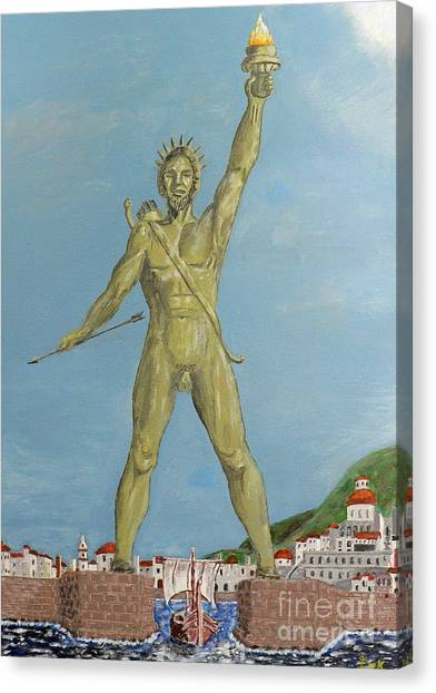 Canvas Print featuring the painting Colossus Of Rhodes by Eric Kempson
