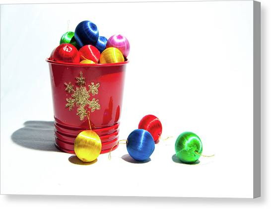 Coloured Baubles In A Pot Canvas Print