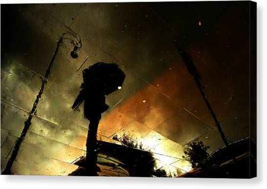 Street Canvas Print - Coloured Rain by Fulvio Pellegrini