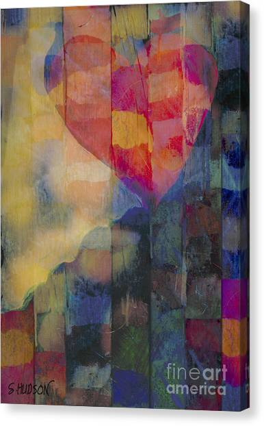 colourful abstract Valentine - Heart Afloat Canvas Print