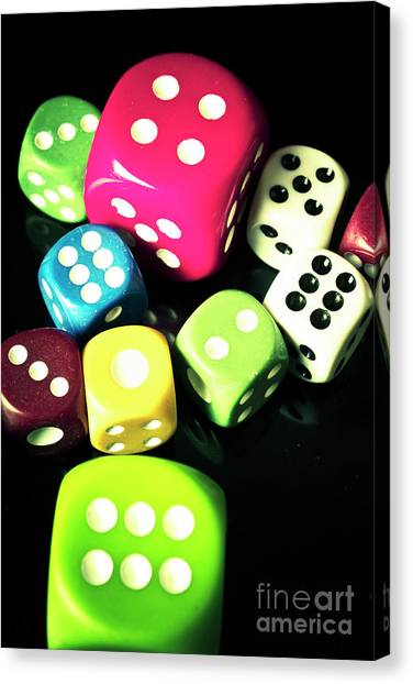 Throw Canvas Print - Colourful Casino Dice  by Jorgo Photography - Wall Art Gallery