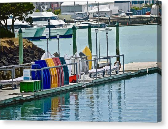 Colourful Dinghies Auckland Canvas Print