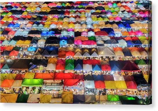 Canvas Print featuring the photograph Colourful Night Market by Pradeep Raja Prints