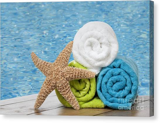 Summer Holiday Canvas Print - Colourful Towels by Amanda Elwell