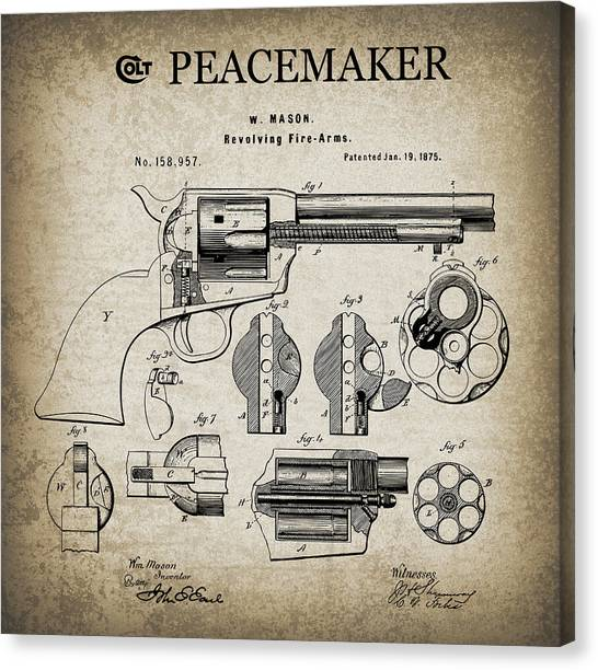 Nra Canvas Print - Colt .45 Peacemaker Revolver Patent  1875 by Daniel Hagerman